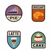 picture of croissant  - Bakery Vintage Labels vector icon design collection - JPG