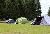 pic of boy scouts  - boy scout camp with three tents to sleep during the summer camp - JPG