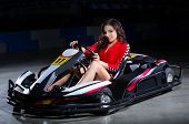 pic of karts  - Young woman karting racer isolated - JPG