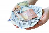 pic of holding money  - businessman hands holding dollar and euro money cash  - JPG