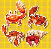 stock photo of crab  - Stickers of four different crabs on yellow background - JPG