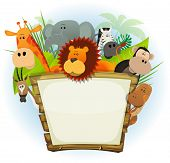 foto of lion  - Illustration of a cute cartoon wild animals family from african savannah including lion elephant giraffe monkey snake gazelle and zebra with jungle background - JPG