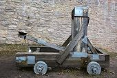 picture of trebuchet  - Wooden catapult at the ancient Russia Izborsk fortress - JPG