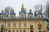 stock photo of chapels  - Blue chapels of the church of the Pskov - JPG