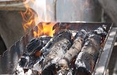stock photo of brazier  - fire from burning wood in a brazier - JPG