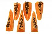 picture of pawpaw  - Slices of Papaya on Isolated White Background - JPG