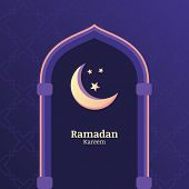 foto of moon stars  - Ramadan Kareem vector background with night sky moon stars in the window - JPG