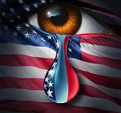 picture of cry  - American social crisis and grief or violence in the United States concept as a human eye with a US flag crying a tear of sorrow with the stars and stripes in the liquid drop as a metaphor for community suffering and a symbol for hope - JPG