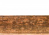 picture of old stone fence  - background and texture decorative old fence red brick wall surface - JPG