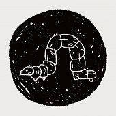 stock photo of caterpillar cartoon  - Caterpillar Doodle - JPG