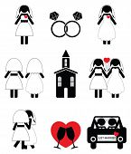 picture of gay wedding  - Gay woman wedding 2 icons set in black and white - JPG