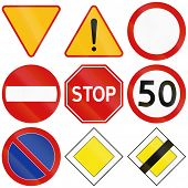 picture of priorities  - Collection of the most common traffic signs in Poland including yield stop general dangers no entry and priority - JPG
