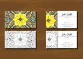 Постер, плакат: Business cards with zentangle pattern