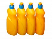 picture of detergent  - Row of bottles with cleaning detergent isolated on white - JPG
