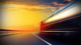 stock photo of fuel tanker  - 3d illustration of a blurry oil tanker truck on asphalt road under evening sky and sunset light - JPG