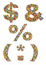 pic of punctuation marks  - Punctuation marks made from colorful glass beads on a white background - JPG