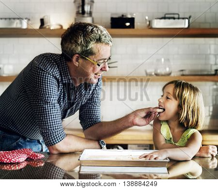 Father Daughter Helping Cooking Bakery Concept