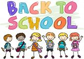 foto of chums  - Back to School Doodle Featuring Kids Wearing School Gear - JPG