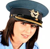Closeup Of Beautiful Brunette Female Police Officer