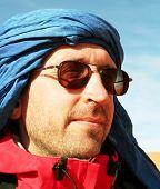 Tourist in Sahara desert poster