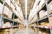 Постер, плакат: Warehouse Inventory In Defocus Store Blur Background