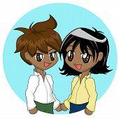 Cute Cartoon Couple poster