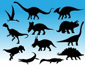 stock photo of dinosaur-eggs  - Vector illustration of different common dinosaur silhouettes - JPG