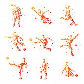 Постер, плакат: Set Of Abstract Football Players Isolated