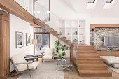 Постер, плакат: 3D Rendering Of Living Room Of Chalet