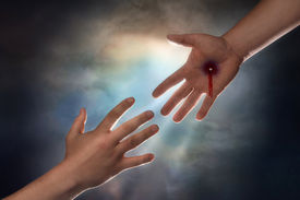 pic of atonement  - Hand of Christ reaching down from heaven to grab the hand of man - JPG