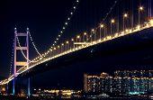 stock photo of tsing ma bridge  - bridge at night Tsing ma bridge , hongkong ** Note: Slight graininess, best at smaller sizes - JPG