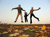 Fly Happy Family With Autumn Leaves poster