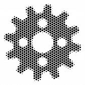Halftone Hexagonal Cogwheel Icon. Pictogram On A White Background. Vector Concept Of Cogwheel Icon C poster