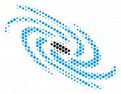 Halftone Hexagon Galaxy Icon. Pictogram On A White Background. Vector Collage Of Galaxy Icon Created poster
