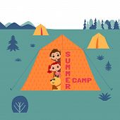Kids And Dogs Summer Camp Concept. Cute Colorful Cartoon. Happy Children Boy, Girl, Dog Pet In Campi poster