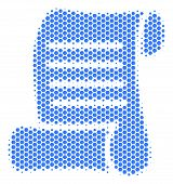 Halftone Hexagon Script Roll Icon. Pictogram On A White Background. Vector Mosaic Of Script Roll Ico poster