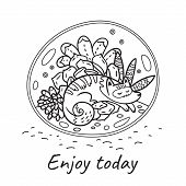 Enjoy Today. Hand Drawn Terrarium Plants With Cat. Cartoon Vector Illustration In Contour. Ideal For poster