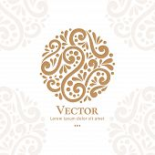 Abstract Golden Logo In A Round Shape. Can Be Used For Jewelry, Beauty And Fashion Industry. Elegant poster