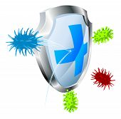 picture of mrsa  - Shield with virus or bacteria bouncing off it - JPG