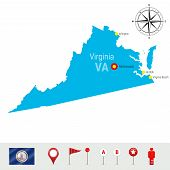 Virginia Vector Map Isolated On White Background. High Detailed Silhouette Of Virginia State. Vector poster