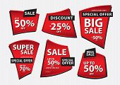 Red Banner Vector, Sale Banner Template, Ribbons Flat Isolated, Labels, Stickers, Tags, Discount, Ic poster