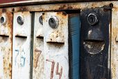 Old Rusty Mailboxes, Like Enthusiastic Faces Waiting For Letters poster