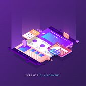 Website Development Vector Illustration. Colorful Web Page Isometric Icon. Modern Landing Page. Site poster