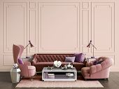 Classic Interior Room With Copy Space.sofa And Armchairs,sidetables With Lamps,table With Decor. Int poster