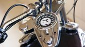 picture of speedo  - detail picture of tank and tachometer on a chromed chopper - JPG