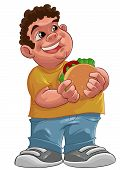 stock photo of fat lip  - fat boy smiling and ready to eat a big hamburger - JPG