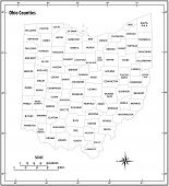 Ohio State Outline Administrative And Political Vector Map In Black And White poster