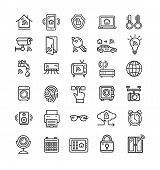 Smart Home Signs Black Thin Line Icon Set Include Of Faucet, Car, Window, Door And Camera. Vector Il poster