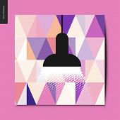 Simple Things - A Black Lamp Raying Soft Light With Light Purple Triangle Pattern Wallpaper On The B poster