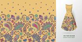 Hand Drawn Flower Seamless Pattern. Colorful Seamless Pattern With Floral Pattern In Eastern Style.  poster